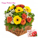 Fabulous Basket - 30 Exotic Flowers Basket and Mother's Day Greeting Card