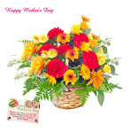 Beautiful Carnation - 15 Carnation Basket and Mother's Day Greeting Card