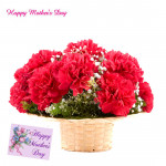 Gorgeous Mother - 12 Red Carnations Basket and Mother's Day Greeting Card
