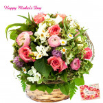 Mix Love - 6 Gladiolus with 24 Mix Flowers (Roses, Carnations, Gerberas) Basket and Mother's Day Greeting Card