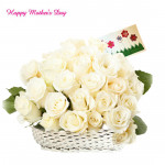 Tempting Basket - 20 White Roses Basket and Mother's Day Greeting Card