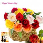 Elegant Basket - 30 Mix Roses Basket and Mother's Day Greeting Card