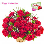 Charming Basket - 36 Red Roses Basket and Mother's Day Greeting Card