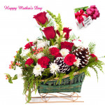 Assembling Basket - 6 Red Roses with 10 White N Red Carnations Basket and Mother's Day Greeting Card
