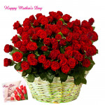 Lovely Rose Basket - 75 Red Roses Basket and Mother's Day Greeting Card