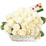 Magnetic Flowers - 48 White Roses Basket + Card