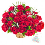 Magnificent Offerings - 75 Red Roses In Basket + Card