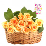 Nice Flowers - 15 Yellow Roses Basket + Card