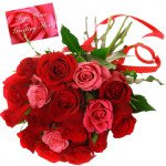 Appealing Flowers - 12 Red And 12 Pink Roses + Card