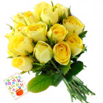Fetching Attention - 25 Yellow Roses + Card