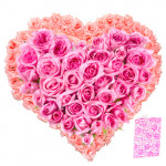 Extraordinary - Heart Shaped Arrangement Of 50 Peach And Pink Roses + Card