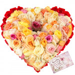 Distinct - 100 Mix Colored Roses Heart Shaped Arrangement + Card