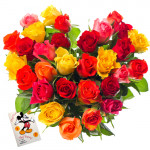 Striking Arrangement - 25 Mix Colored Roses Heart Shaped Arrangement + Card