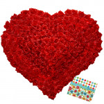 Distinct Love - 501 Roses Heart Shaped Arrangement + Card