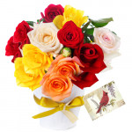 Tantalizing Gift - 18 Mix Roses In Vase + Card
