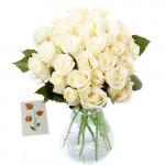 Pleasant Arrangement - 15 White Roses In Vase + Card