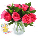 Exotic - 15 Pink Roses in Vase + Card