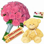"Noble Thinking - Bouquet 50 Pink Roses + 2 Toblerone Chocolate Bars + Teddy Bear 6"" + Card"