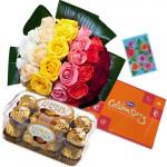 Sweet Gift - Bouquet 20 Mix Roses + Ferrero Rocher 16 Pcs + Cadbury Celebrations  + Card