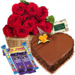 Extraordinary Mix - 50 Red Roses In A Basket + 1 Kg Heart Shaped Cake + 5 Assorted Chocolate Bars + Card