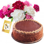 Love Attachment - 12 Mixed Carnations + 1/2 Kg Chocolate Cake+ Card
