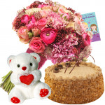 Love & Gift - Bouquet 50 Mix Carnations + 500gm Cake + 8 Inch Teddy Bear + Card