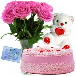 Memorable Moments - Glass Vase Of 12 Pink Roses + Teddy Bear 6 Inches + 1 Kg Strawberry Cake + Card
