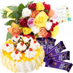 Best Feelings - Bouquet 20 Mix Flowers + 1/2 Kg Pineapple Cake + 5 Dairy Milk 20 Gms Each + Card