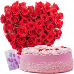 Finest Combo - 150 Red Rose Heart Shaped Basket + 1 Kg Strawberry Cake + Card