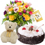 "Best Confer - Bouquet 15 Assorted Flowers Vase +  Teddy 6"" + 1/2 Kg Black Forest Cake + Card"