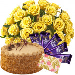 Gift With Love - 12 Yellow Roses Basket + 1/2 Kg Butterscotch Cake +  5 Dairy Milk 20 Gms Each + Card