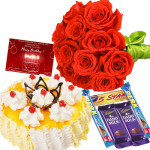 Offbeat Hamper - 20 Red Roses + 1 Kg Pineapple Cake + 5 Assorted Cadbury Chocolates + Card
