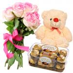 "Deserving - Bouquet Of 12 Pink Roses + Ferrero Rocher 16 Pcs + Teddy Bear 8"" + Card"