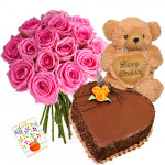 "Respectable - Bouquet Of 15 Pink Roses + Teddy Bear 10"" + 1 Kg Heart Shaped Chocolate Cake + Card"