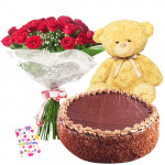 "Endearing Gift - Bouquet Of 12 Red Roses + Teddy Bear 8"" + 1/2 Kg Chocolate Cake + Card"
