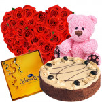 "Appealing - Heart Shaped Arrangement 50 Red Roses Basket + 1/2 Kg Chocolate Cake + Cadbury Celebrations + Teddy Bear 8"" + Card"