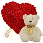"Fab Gift - 100 Red Roses Heartshape Basket Arrangement + 10"" Teddy Bear + Card"