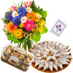 Exceptional Combo - Bouquet Of 15 Seasonal Flowers + Ferrero Rocher 16 Pcs + Kaju Katli Box 250 Gms + Card