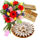 Mystical Combo - Bouquet Of 15 Mix Seasonal Flowers + Assorted Dry Fruits Box 200 Gms + Kaju Katli 250 Gms + Card