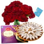 Incredible Combo - 12 Red Carnations + Kaju Katli Box 250 Gms + Soan Papdi Box 250 Gms + Card