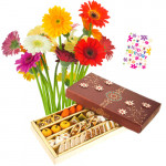 Sensational - Bouquet Of 15 Multi Color Gerberas + 500 Gms Assorted Sweets Box + Card