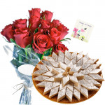 Breathtaking Gift - Bouquet 25 Red Roses + Kaju Katli Sweet Box 250 Gms  + Card