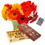 Uncommon Combo - Bouquet 15 Yellow And Red Gerberas + Assorted Sweet Box 500 Gms + Card