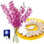 Stupendous Gift - Bouquet 10 Orchid + Kaju Katli Box 250 Gms + Card