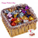 Chocolates for Mother  - Handmade Chocolates 200 gms in Basket and Mother's Day Greeting Card