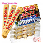 Imported Delicacy - Snickers, Mars, Twix, Bounty 180 gms each, 3 Toblerone 60 gms each, 3 Ferrero Rocher 4 pcs each and card