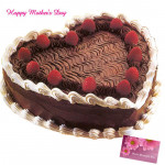 Black Forest Cake - Black Forest Heart Shaped Cake 1.5 Kg and Mother's Day Greeting Card