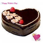 Chocolate Cake - Chocolate Heart Shape Cake 1 kg and Mother's Day Greeting Card