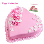 Strawberry Cake - Strawberry Heart Shape Cake 1 kg and Mother's Day Greeting Card