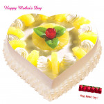 Pineapple Cake - Pineapple Heart Shape Cake 1 kg and Mother's Day Greeting Card